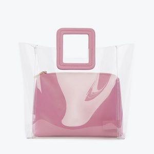Staud Shirley Clear Plastic Pink Handbag A30